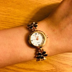 Black floral bracelet watch